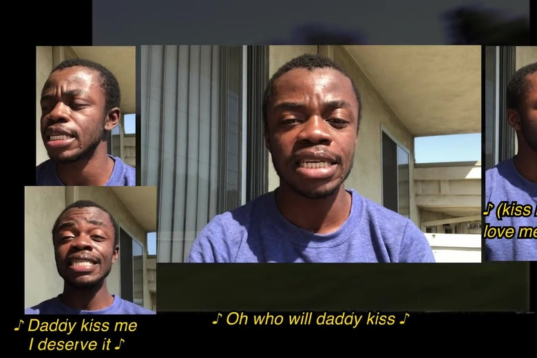 A YouTube style split-screen showing different versions of Demi Adejuyigbe singing in harmony with himself.