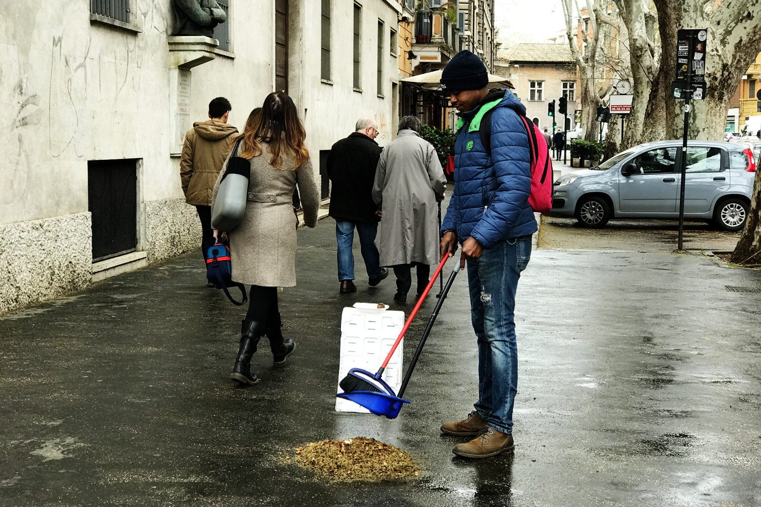 A street sweeper in Rome.
