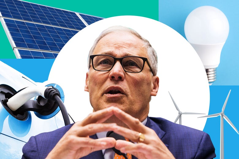 Jay Inslee, surrounded by wind turbines, solar panels, an electric car, and a compact fluorescent lightbulb.
