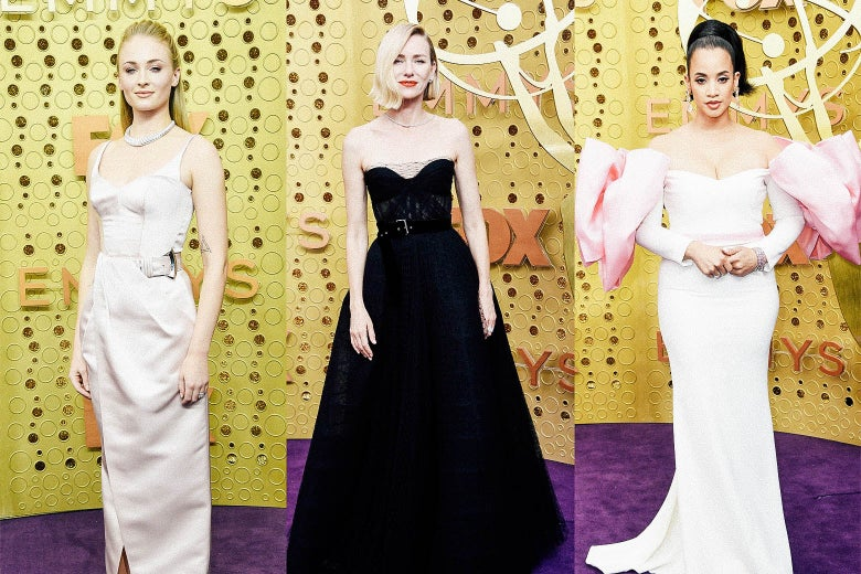 Sophie Turner; Naomi Watts; Dascha Polanco on the Emmys purple carpet.