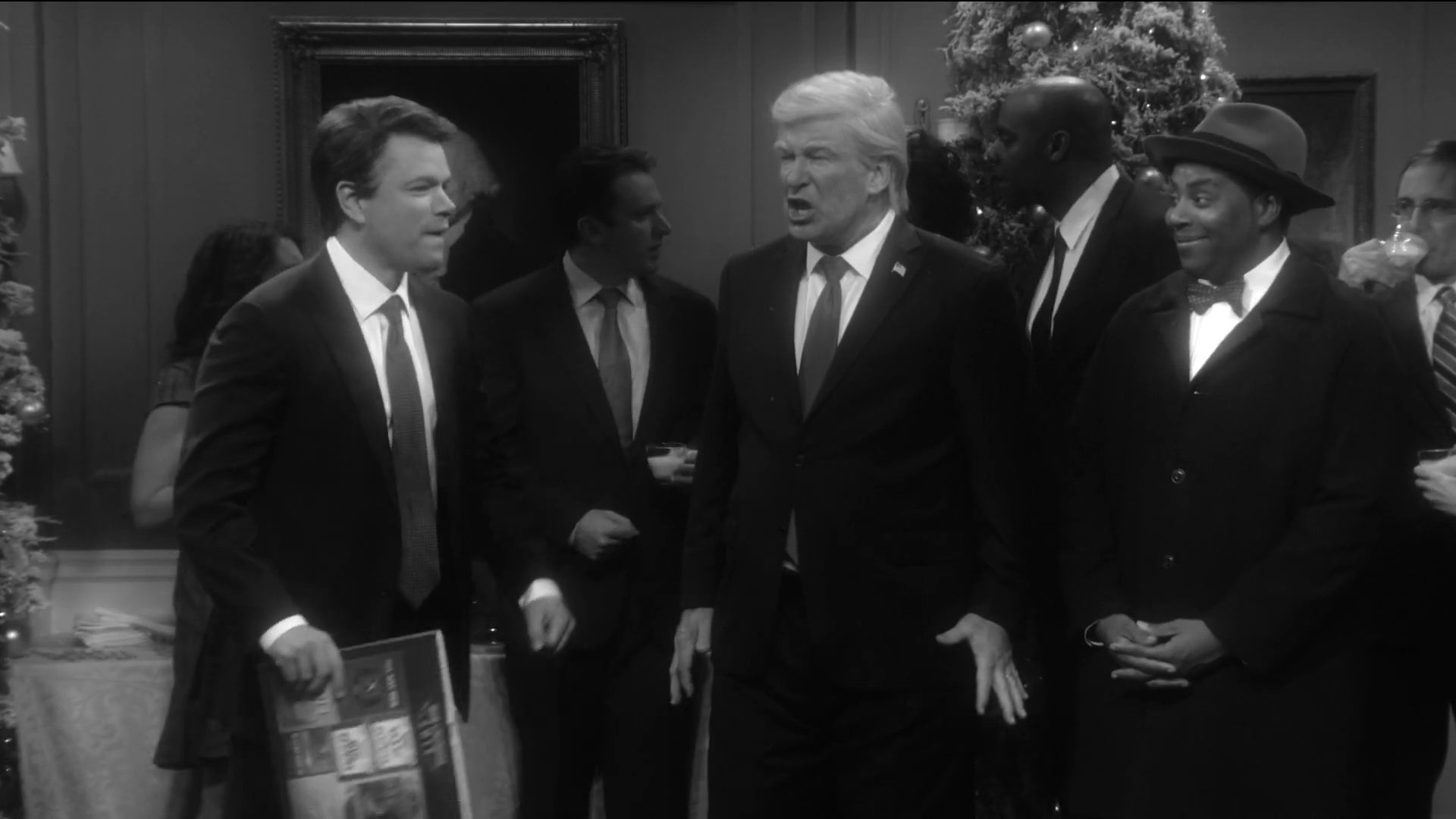 Matt Damon as Brett Kavanaugh, Alec Baldwin as Donald Trump, and Kenan Thompson as Clarence on Saturday Night Live.