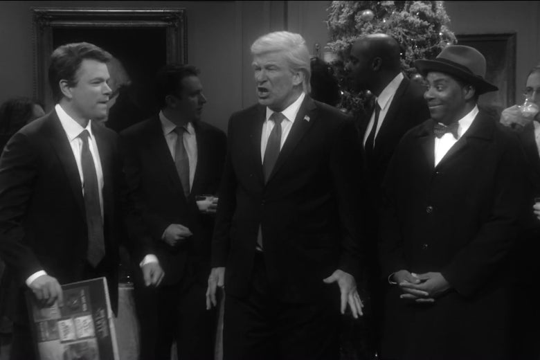 "Matt Damon as Brett Kavanaugh, Alec Baldwin as Donald Trump and Kenan Thompson as Clarence on Saturday Night Live. ""srcset ="" https://compote.slate.com/images/49252aff-e54d-4621-82aa-bced92a3d0a0.jpeg?width=780&height=520&rect=1620x1080&offset=265x0 1x, https://compote.slate.com/images /49252aff-e54d-4621-82aa-bced92a3d0a0.jpeg?width=780&height=520&rect=1620x1080&offset=265x0 2x"