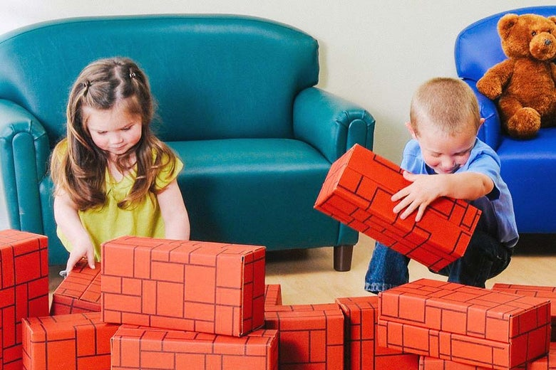 Constructive Playthings brick colored card board boxes.