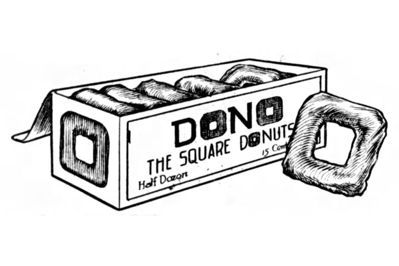 "Advertising clip-art of a box of square donuts, labeled ""DONO - The Square Donut."""