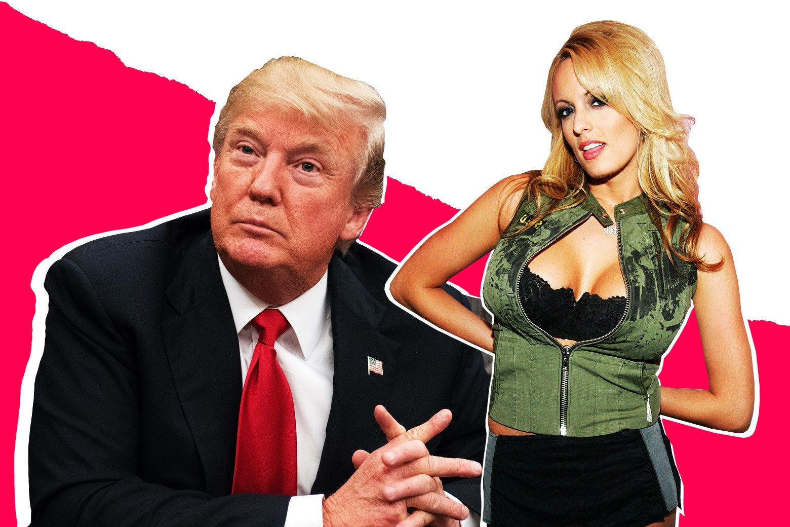 A photo illustration of President Donald Trump and Stormy Daniels.