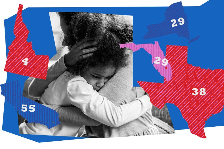 Mother embracing child amid a collage of election symbols.