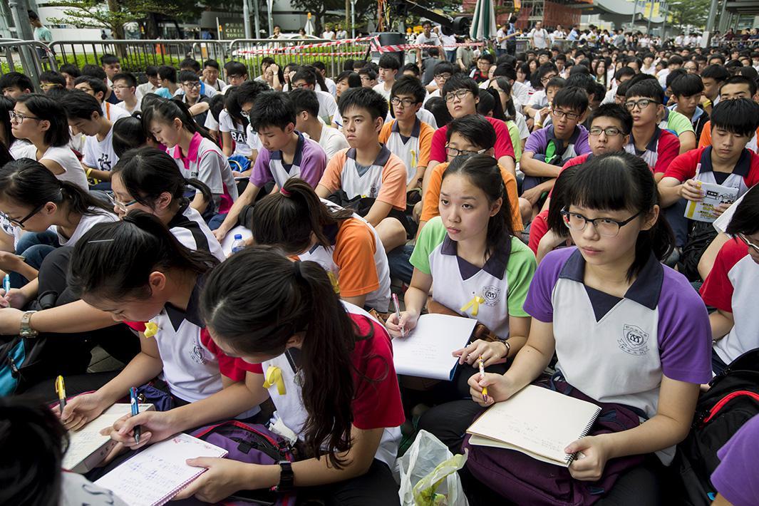 School lesson at rally, Hong Kong