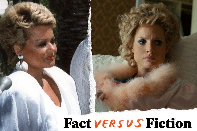 Tammy Faye Bakker in a white dress and Jessica Chastain as Bakker in pink robe.