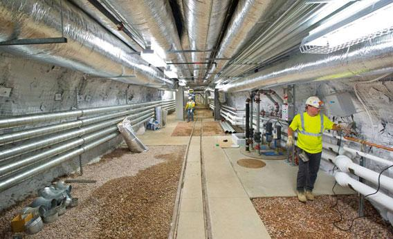 Technicians put the finishing touches on the Davis Campus, 4,850 feet underground at the Sanford Underground Research Facility.