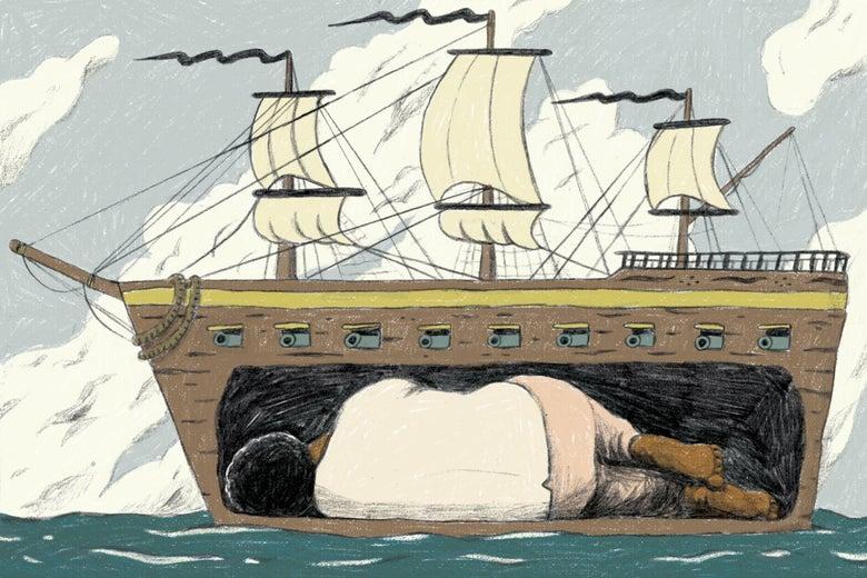 Kossola imprisoned below the deck of a slave ship.