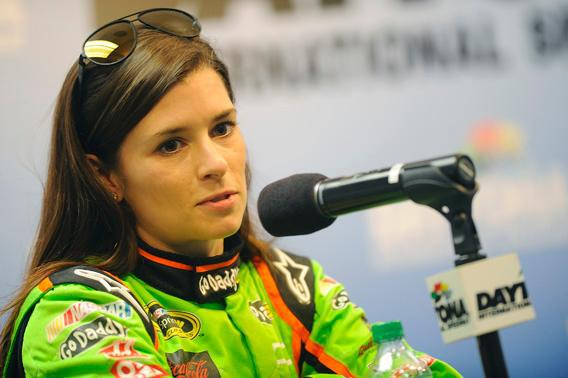 Danica Patrick, driver of the #10 GoDaddy.com Chevrolet, speaks with the media.