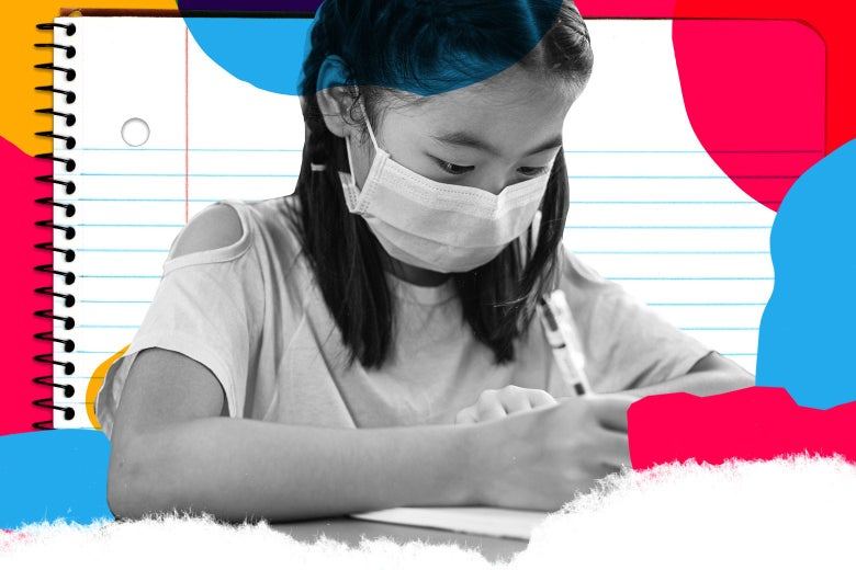 A girl in a surgical mask writes on a piece of paper.