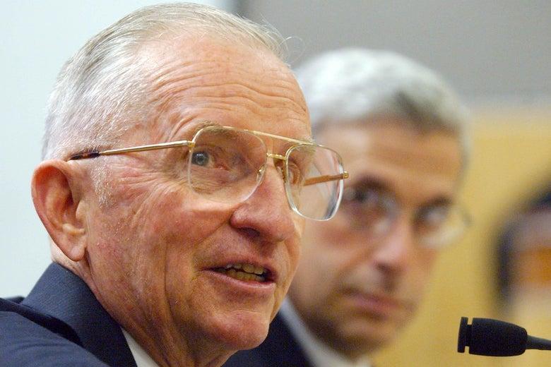 Ross Perot testifies at a California Senate committee.