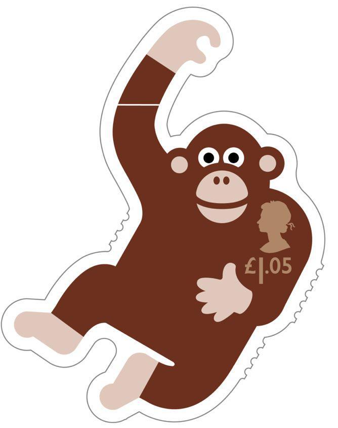 Animail Chimpanzee stamp 400%