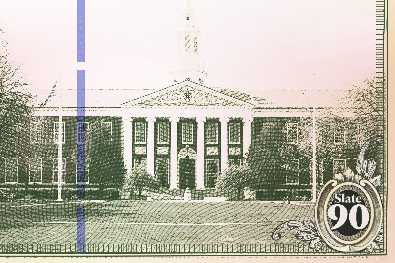 Paper currency showing a building at Harvard University.