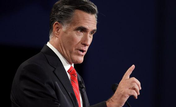 Republican presidential candidate Mitt Romney speaks during the Presidential Debate.