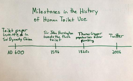 Milestones in human toilet use (chart)