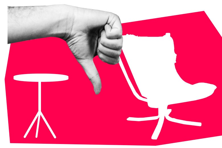 Man's hand in a thumb down position in front of cut outs of different furniture.