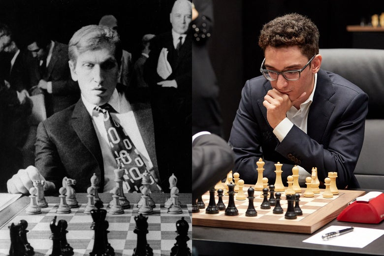 Split image of Bobby Fischer and Fabiano Caruana, both playing chess.