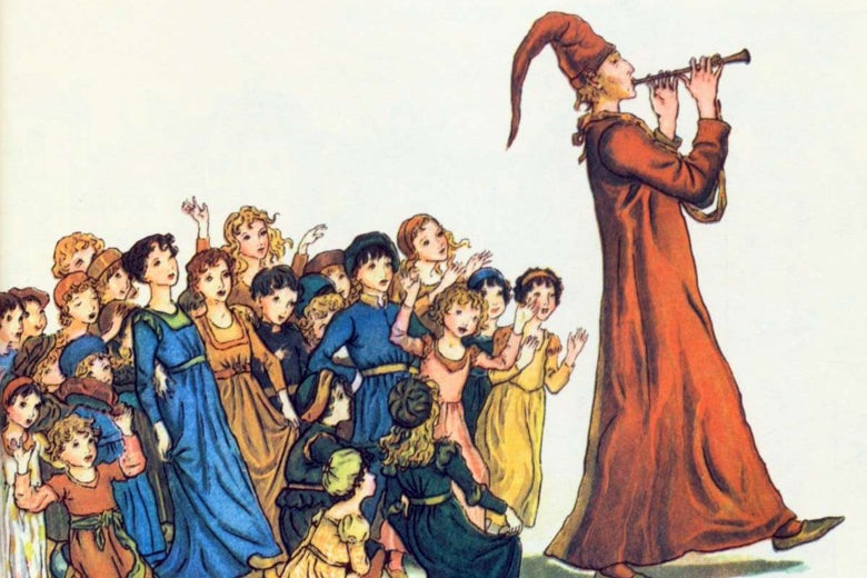 A vintage illustration of the Pied Piper leading children away.