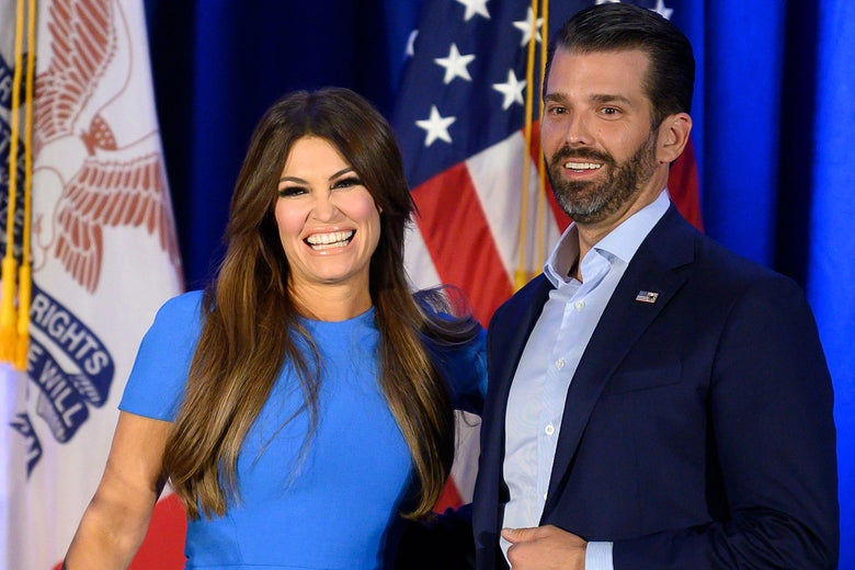 Donald Trump Jr. and Kimberly Guilfoyle smile during a news conference in Des Moines, IA, on February 3, 2020.