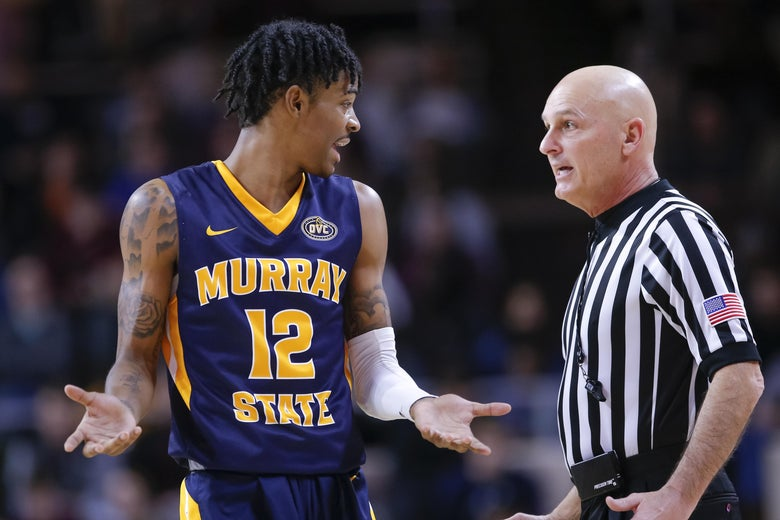 Ja Morant of Murray State talks with a referee