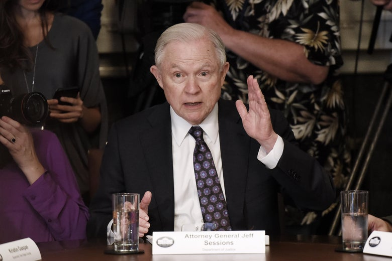 WASHINGTON, DC - MAY 16: (AFP-OUT) Attorney General Jeff Sessions speaks during a meeting with President Donald Trump and California leaders and public officials who oppose California's sanctuary policies in the Cabinet Room of the White House May 16, 2018 in Washington, DC. (Photo by Olivier Douliery-Pool/Getty Images)