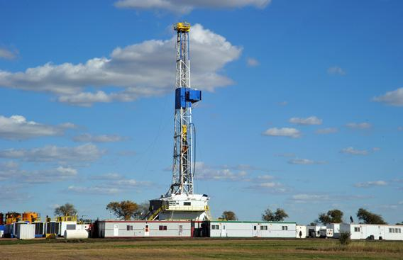 An oil drill at the Bakken Formation.