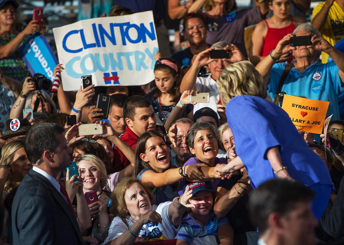 Democratic presidential nominee Hillary Clinton greets supporters after a campaign rally at Riverfront Sports in Scranton, Pa., August 15, 2016. Vice President Joe Biden also attended.