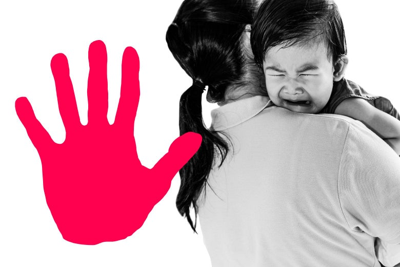A graphic of a hand print, and a woman holding a crying toddler over her shoulder.