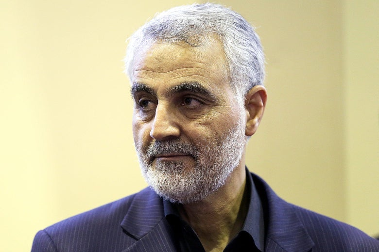 Iranian Gen. Qassem Soleimani inis seen as people pay their condolences following the death of his mother in Tehran in 2013.