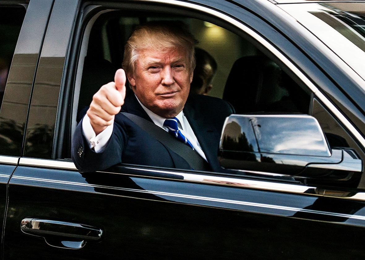 Republican presidential candidate Donald Trump leaves a campaign event September 23, 2015 in Columbia, South Carolina.