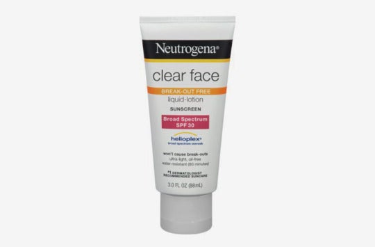 Neutrogena Clear Face Breakout Free Sunscreen.