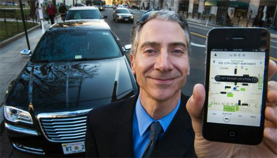 Uber, a technology firm which has created a mobile app which allows consumers to use their device to request a nearby taxi or limousine.