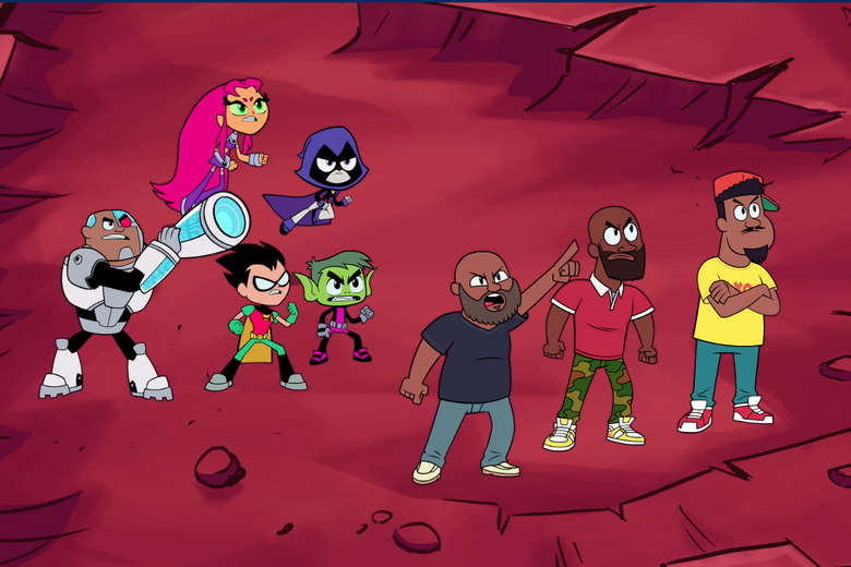 "The Teen Titans and De La Soul in the ""Don't Press Play"" episode"