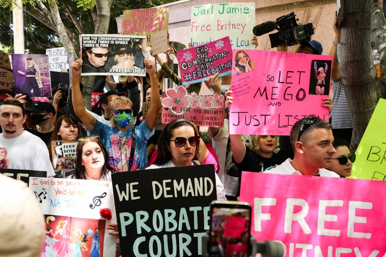 People in a crowd hold various signs, many of which are pink, calling for Britney's freedom from the conservatorship.