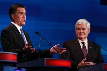 Mitt Romney and Newt Gingrich participate in a debate in Myrtle Beach, S.C., on Jan. 16, 2012.