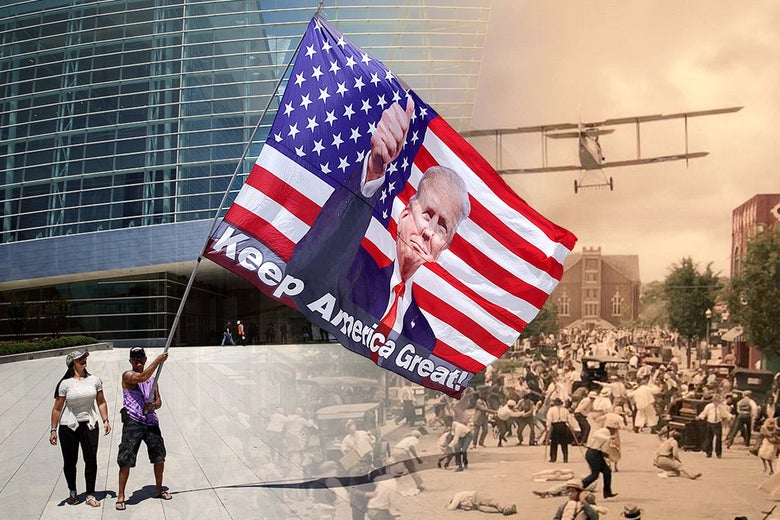 Photo of a Trump supporter waving a giant Keep America Great flag with Trump's face on it, blending into a still of the Tulsa massacre depicted in HBO's Watchmen