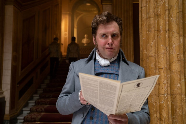 Nigel Berbrooke (played by Jamie Beamish) reading Lady Whistledown's Society Papers.