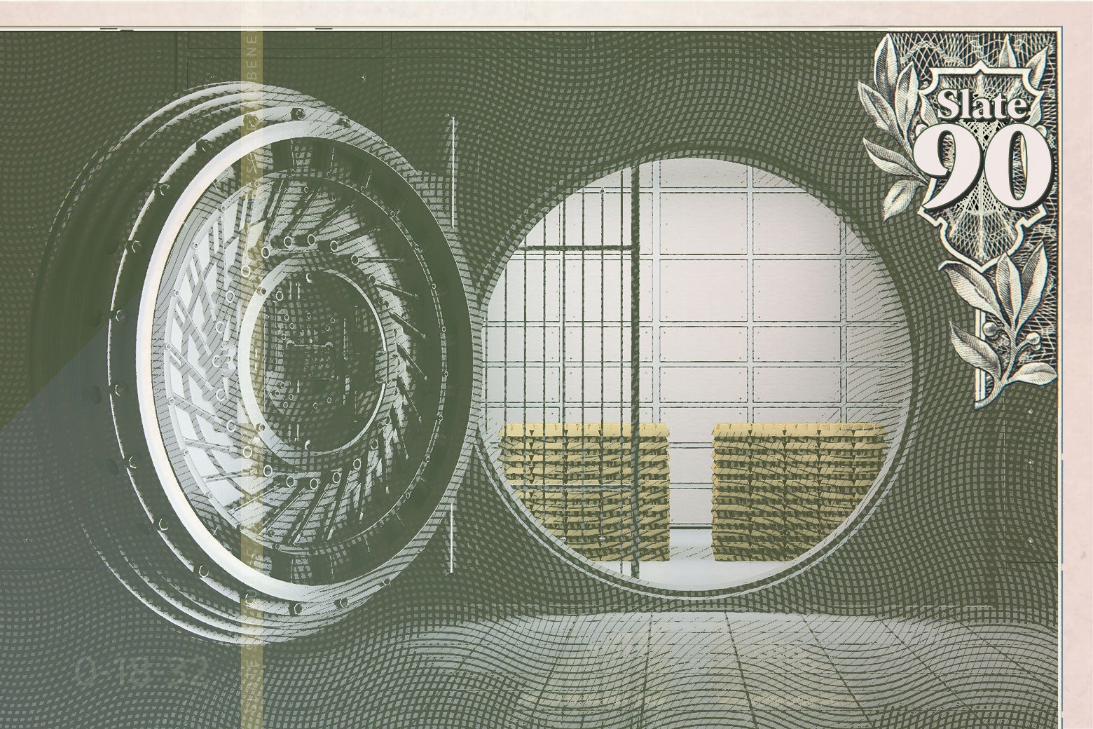 Paper currency showing an open bank vault.