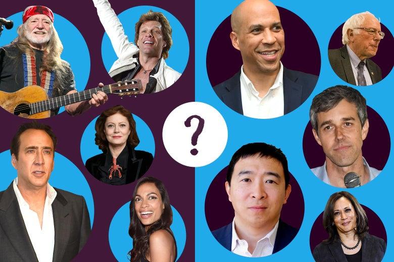 Willie Nelson, Jon Bon Jovi, Rosario Dawson, Nicolas Cage, Susan Sarandon, Beto O'Rourke, Cory Booker, Andrew Yang, Kamala Harris, and Bernie Sanders.