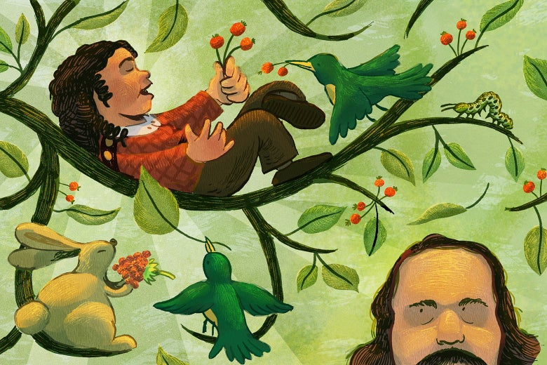 A colorful and vibrant illustration of Nathaniel Hawthorne and his young son.