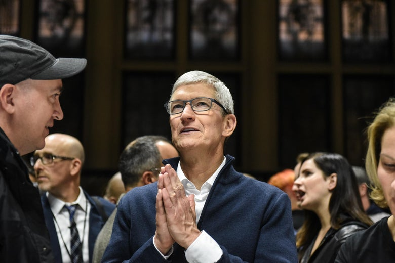 NEW YORK, NY - OCTOBER 30: Tim Cook, CEO of Apple speaks while unveiling new products during a launch event at the Brooklyn Academy of Music on October 30, 2018 in New York City. Apple debuted a new MacBook Air, Mac Mini and iPad Pro. (Photo by Stephanie Keith/Getty Images)
