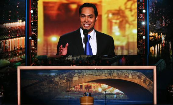 San Antonio Mayor Julian Castro gives the keynote address during day one of the Democratic National Convention on Tuesday in Charlotte, North Carolina.