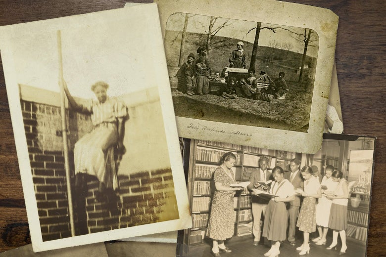 A photo collage of Black women engaged in various activities — including standing outside with family, poised against a wall and reading books in a library.