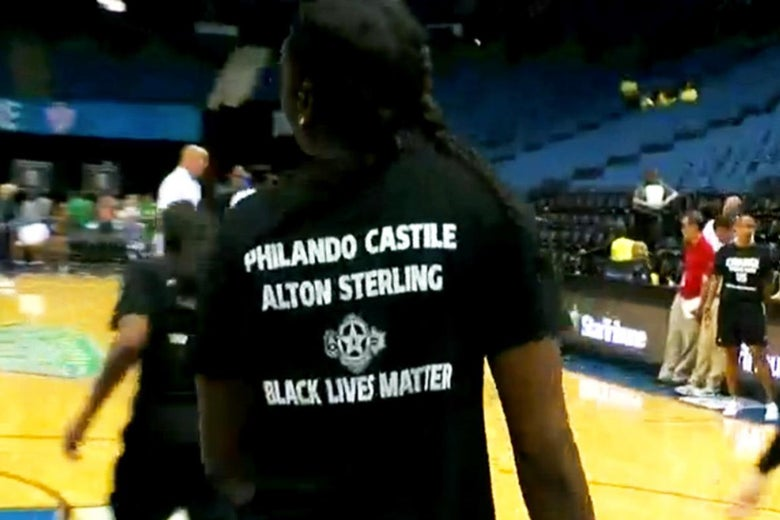 """Close-up on the back of a player's shirt, which reads """"Philando Castile Alton Sterling Black Lives Matter"""""""