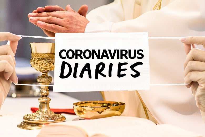 """A priest blesses the salvation cup, with a sign that says """"coronavirus diaries"""" written over it."""