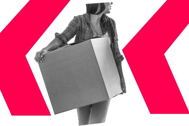 A woman carrying a big cardboard box.