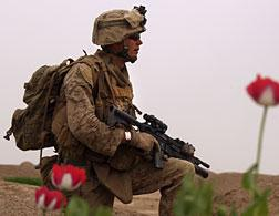 A U.S. Marine in Afghanistan. Click image to expand.