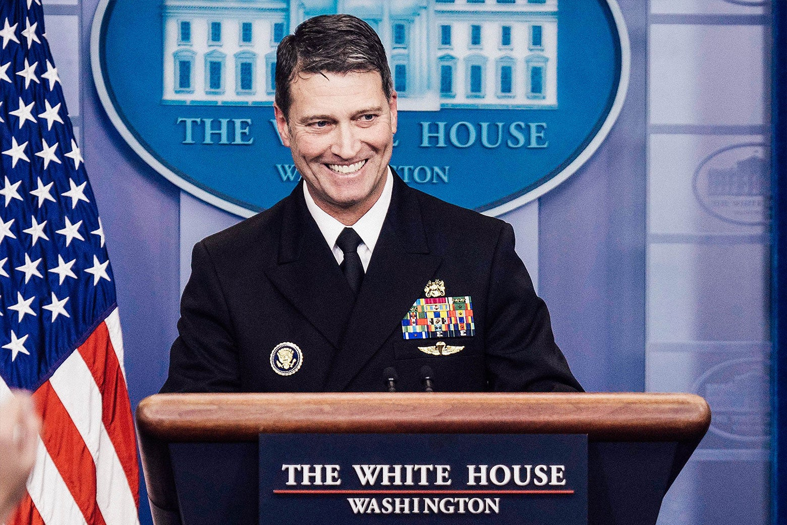 Ronny Jackson stands at the podium at a White House press briefing.